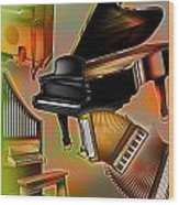 Musical Instruments With Keyboards Wood Print