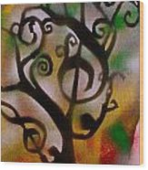 Musical Tree Golden Wood Print