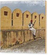 Musician - Amber Palace - India Rajasthan Jaipur Wood Print