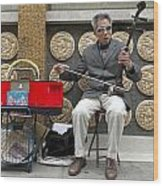 Musician In Chinatown In San Francisco Wood Print