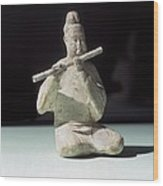 Musician Playing The Dizi. 618 - 907 Wood Print