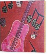 Musique Rouge Wood Print