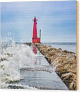 Muskegon Channel South Pier Lighthouse and Wave, Lake Michigan Wood Print