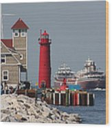 Muskegon Coast Guard And Light House Wood Print