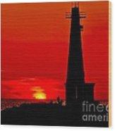 Muskegon Light Sunset Wood Print