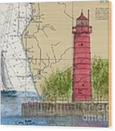Muskegon Lighthouse Mi Nautical Chart Map Art Cathy Peek Wood Print