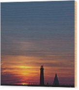 Muskegon Lighthouse Silhouetted At Sunset With A Sailboat In The Wood Print