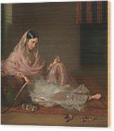 Muslim Lady Reclining Wood Print