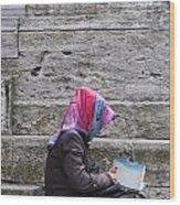 Muslim Woman At Mosque Wood Print