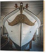 Mustache Boat Wood Print