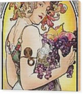 My Acrylic Painting As An Interpretation Of The Famous Artwork By Alphonse Mucha - Fruit Wood Print