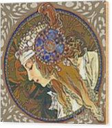 My Acrylic Painting As Interpretation Of Alphonse Mucha- Byzantine Head. The Blonde. Diagonal Frame. Wood Print by Elena Yakubovich