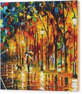 My Best Friend - Palette Knife Oil Painting On Canvas By Leonid Afremov Wood Print