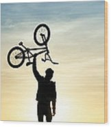 Bmx Biking Wood Print by Tim Gainey