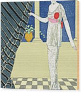 My Guests Have Not Arrived Wood Print by Georges Barbier