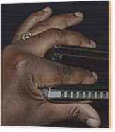 My Afro Blues Harmonica - Double Play Blues Wood Print