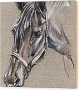 My Horse Portrait Drawing Wood Print