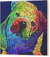 My Psychedelic Bulldog Wood Print