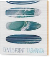 My Surfspots Poster-5-devils-point-tasmania Wood Print