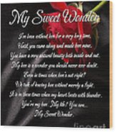 My Sweet Wonder Poetry Art Wood Print