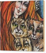 My Three Cats Wood Print
