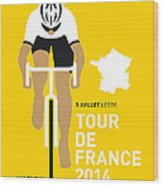 My Tour De France Minimal Poster 2014 Wood Print