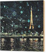 My Van Gogh Eiffel Tower Wood Print