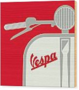My Vespa - From Italy With Love - Red Wood Print by Chungkong Art