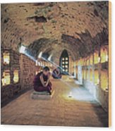 Myanmar, Buddhist Monks Inside Wood Print