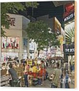 Myeongdong Shopping Street In Seoul South Korea Wood Print