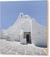 Mykonian Church Wood Print