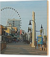 Myrtle Beach Boardwalk Wood Print