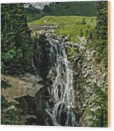 Myrtle Falls In Front Of Mt. Rainier Wood Print