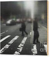 Mysterious Business Men In New York City Crosswalk Wood Print