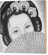 Mysterious - Geisha Girl With Orchids And Fan Wood Print