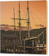 Mystic Seaport Sunset-joseph Conrad Tallship 1882 Wood Print