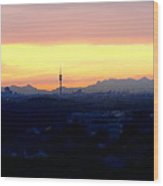 Mystical Munich Skyline With Alps During Sunset Wood Print