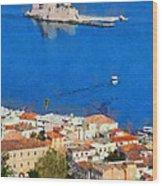 Nafplio And Bourtzi Fortress Wood Print