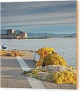 Nafplio Fishing Harbour Wood Print