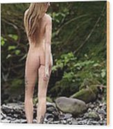 Naked Girl In The River  Wood Print