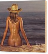 Naked Woman Sitting At The Beach On Sand Wood Print