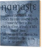Namaste Blue Wood Print