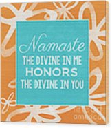 Namaste Watercolor Flowers Wood Print