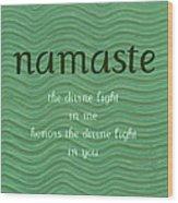Namaste With Blue Waves Wood Print