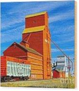 Nanton Grain Elevators  Wood Print