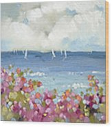 Nantucket Sea Roses Wood Print