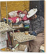 Nap Time For Child And Street Shopkeeper In Lhasa-tibet   Wood Print