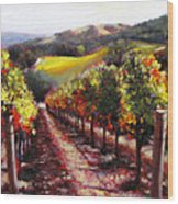 Napa Hill Side Vineyard Wood Print