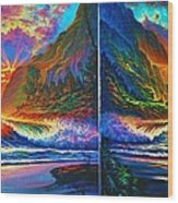 Napali Cliff's Sunset - Diptych Wood Print by Joseph   Ruff