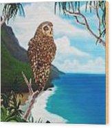 Napali Pueo Wood Print